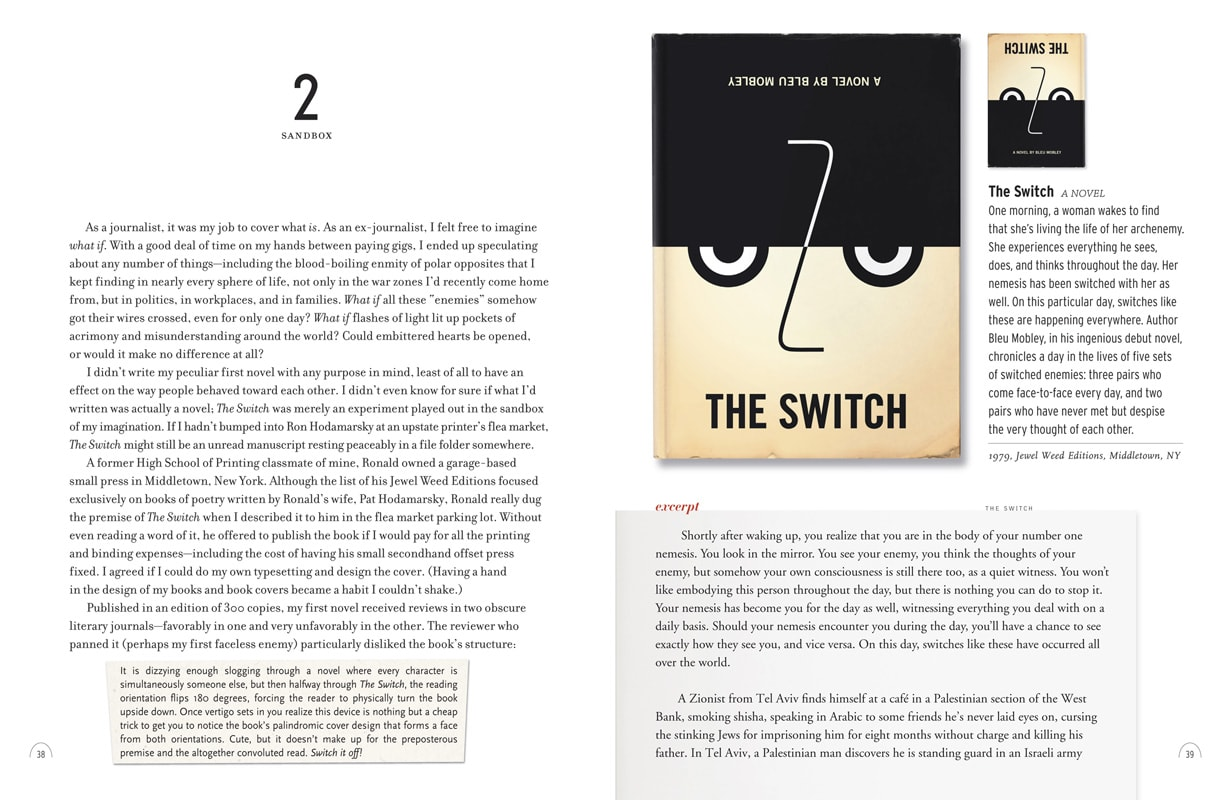 Page spread from A Life in Books featuring Bleu Mobley's first novel The Switch.