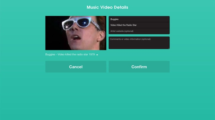 You can fill in song details  for submitted videos