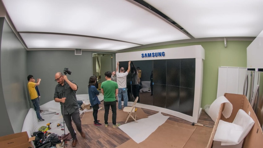 """The largest screen is a 85"""" touch display. The other 8 screens are passive 46"""" displays, all manufactured by Samsung."""