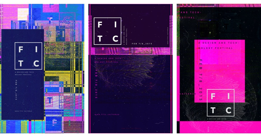 A selection of posters designed by Ash Thorp for FITC Tokyo