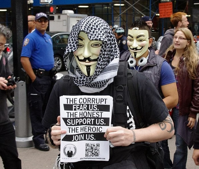 An Anonymous supporter at Occupy Wall Street