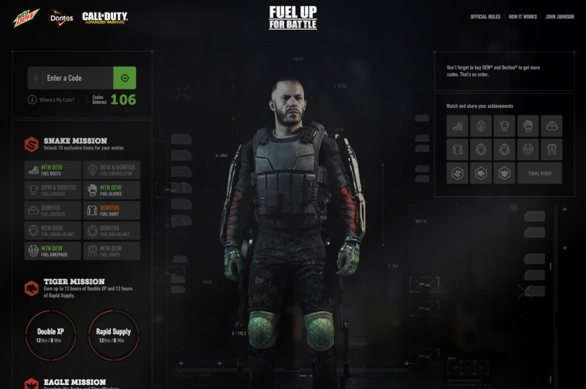 """The dashboard for the Call of Duty """"Fuel Up For Battle"""" website"""
