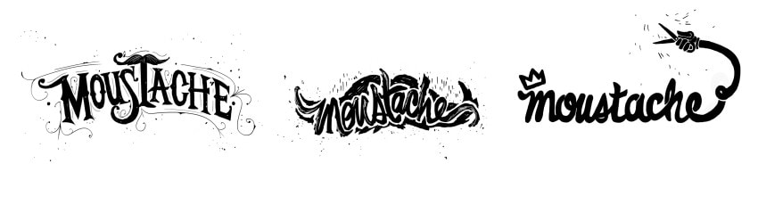 "Type explorations for ""moustache"""