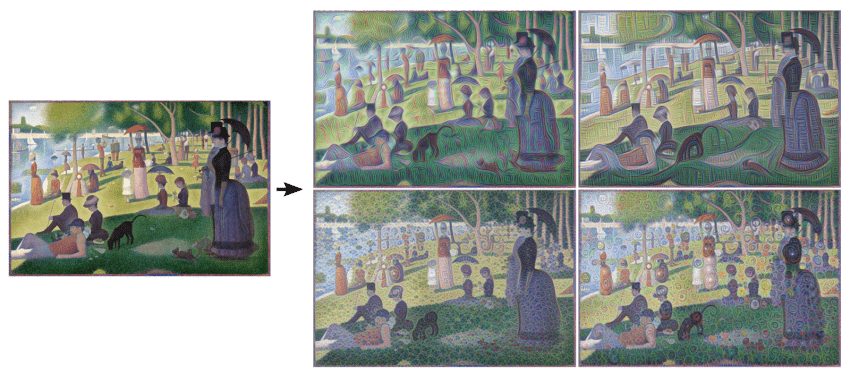 Left: Original painting by Georges Seurat. Right: processed images by Matthew McNaughton, Software Engineer