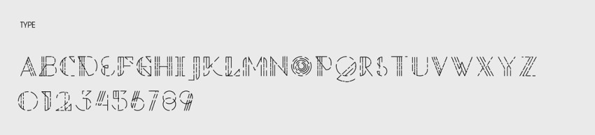 The custom designed typeface uses the same dashed line motif as the illustrations.