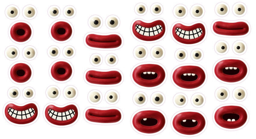 Aardman sticker sheets feature trademark eyes and mouths