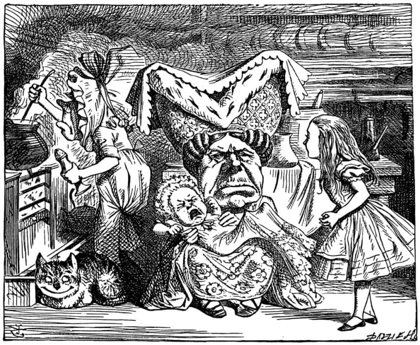 """One of the iconic John Tenniel illustrations published in 1865 in """"Alice's Adventures in Wonderland"""""""