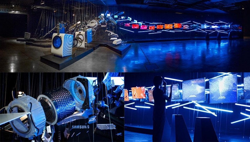 Flows - A Journey to the Future at Milan Design Week 2014. An installation that combined physical parts, lighting design, motion graphics and digital interaction to tell the story of Samsung's innovation process.