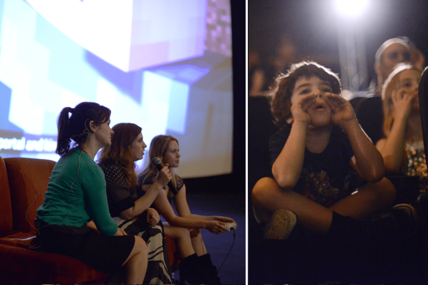 On the left: Catherine Taber (Voice of female Jesse), Lydia Winters (Mojang), and Laura Pelusco (Telltale) play through Story Mode. On the Right: A Minecraft fan shouts out directions to the players.