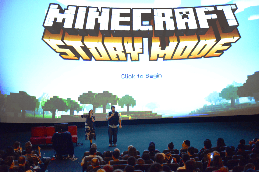 Job Stauffer and Lydia Winters introduce Minecraft: Story Mode to Minecraft fans at the Cinerama Dome.