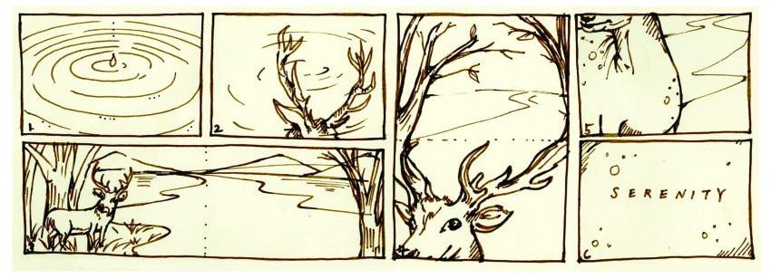 Hand-drawn storyboard by Hyemin Hailey Lee