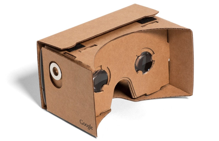 "Google Cardboard allows users to ""drop in"" a smartphone for virtual reality experiences"
