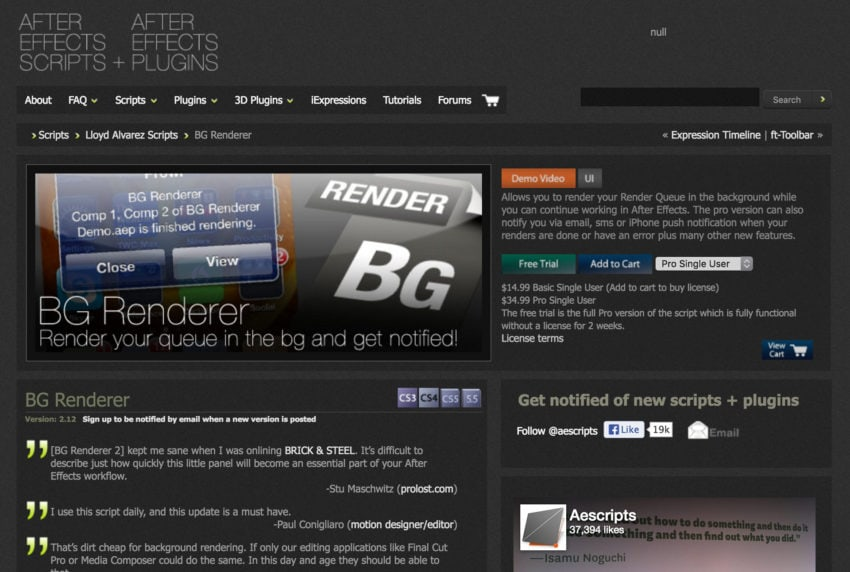 A screen grab of BG Renderer in the aescripts shop, circa 2012